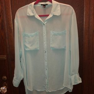 Forever 21 Tiffany Blue Oversized sheer button top